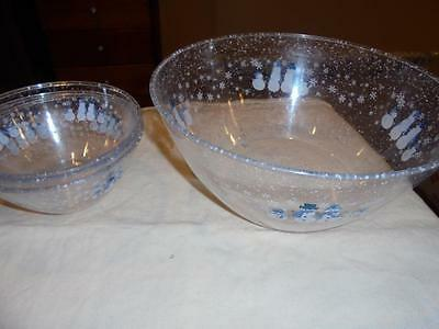 Target Holiday Home Winter Frost Blue/white Snowman 4 Acrylic Bowls Exclnt Cndtn
