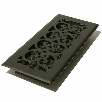 DECOR GRATES ST410 4x10 Scroll Steel Painted Textured BLACK Vent Covers