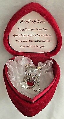 """Red 3X3"""" Trinket Box Heart with Clear Bear Figurine - A gift of Love"""