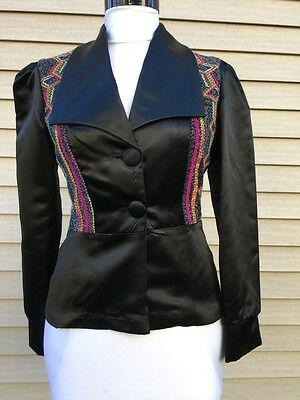 Spectacular 40s Style Liquid Satin Disco Jacket XS Party Dress Shirt