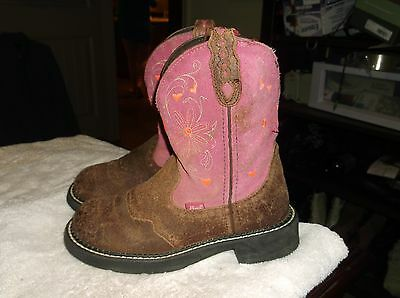 Justin Gypsy Cowboy Boots.  Brown with Pink Shaft.  Girls size 5dB