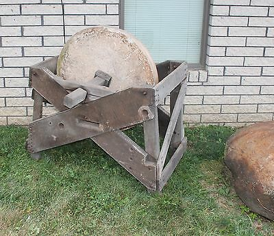 "1840-60s 33 1/2"" ACROSS SAND STONE MILL OR GRINDING STONE W/ CURLY MAPLE BASE"