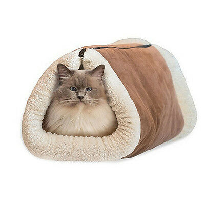 2-in-1 Tunnel Bed and Cat Pet Soft Self-heating Warm Mat House Machine Washable