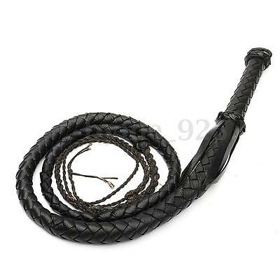 7ft Black Artificial Faux Leather Bull Bullwhip Plait Riders Stockwhip Cow Whip