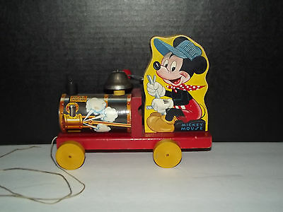 Vintage Fisher Price Mickey Mouse Wooden Choo Choo No 485 Pull Toy