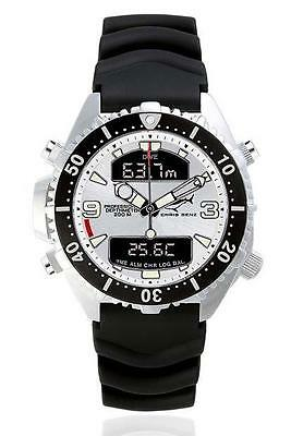 Chris Benz Depthmeter Digital 200m  Shark Silver   Rubber Strap Taucheruhren