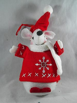 Nordic Mouse in Sweater Hat and Scarf Christmas Tree Ornament new holiday