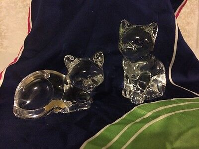 Princess House Pets Crystal Cats 24% Lead Crystal Retired