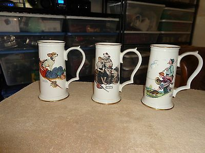 Norman Rockwell  Collectible Beer Steins Set of Three