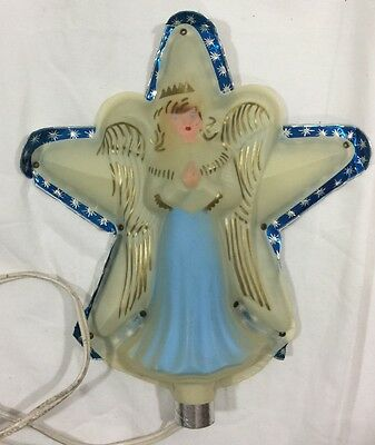 Vintage Angel Tree Topper Celluloid Plastic with Foil Star Background Lighted