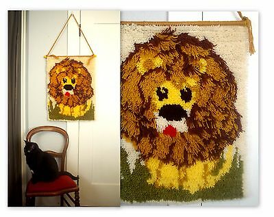 1970's Lion Latch Hook Rug Finished Wall Art Tapestry Zoo Animal Vintage 70's