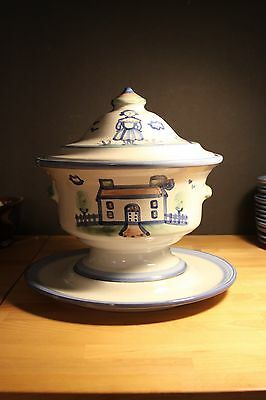 RARE M.A. Hadley Pottery Country Scene Blue Collection Cover Soup Tureen W/Plate