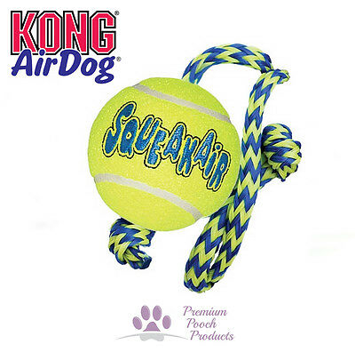 Kong Airdog Squeakair Dog Tennis Ball w Rope Squeak Fetch Launch Easy pick up