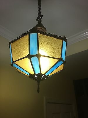 Unique and Ornate - Vintage Blue/Brown Brass Slag Glass Lighted Ceiling Fixture