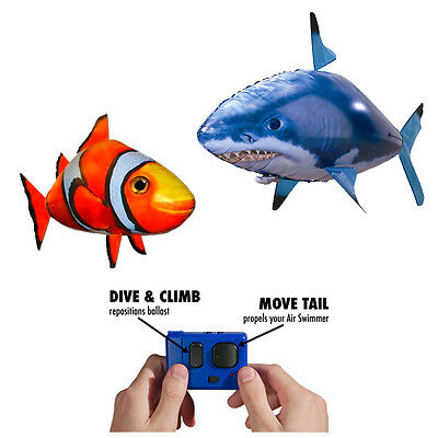 Romote control Inflatable Shark/Clown fish Helium Balloon toy Air swimmer gift