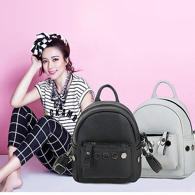 Women Rivet Leather Backpack Travel Handbag Rucksack Should School Bags Backpack