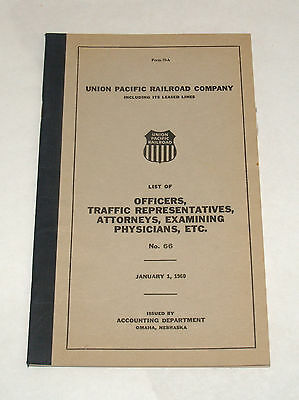Vintage Railroad Employee Book Union Pacific List Of Officers Accounting 1960