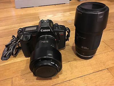 Canon EOS 620 35mm SLR Film Camera with two lenses