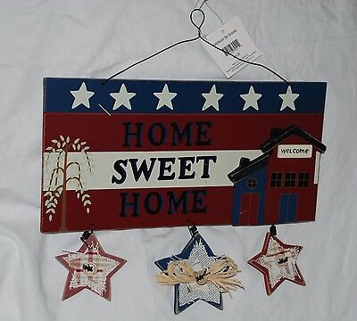 Home Sweet Home Rustic 4Th July Memorial Day Patriotic Decoration Plaque Sign
