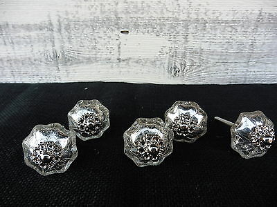 Small Silver Mercury Glass Crackle Pumpkin Scalloped Knob Drawer Pull