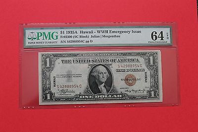 1935A Hawaii $1 Note Silver Certificate Wwii Emegency Issue Pmg 64 Epq Gem Unc
