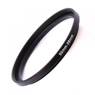 55mm to 58mm Black Metal Step Up Filter Ring Stepping Adapter Mount