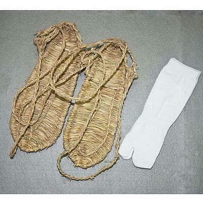 New Size L Cosplay Bleach Straw Sandals Slipper Shoes + Two Toe Sock Free T び
