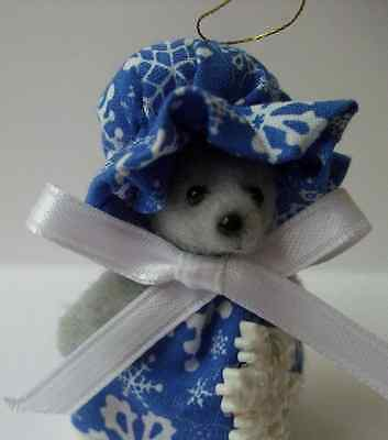 Blue Noel Christmas Mouse Ornaments Handmade Mice Rat Rodent 2 3/4 inches Tall