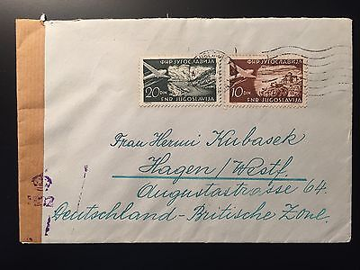 YUGOSLAVIA 1940s censored cover post WWII to Germany British Zone