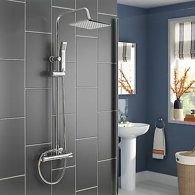 2 in 1 Bathroom Thermostatic Rainfall Shower Set Chrome Mixer with Hand Spray