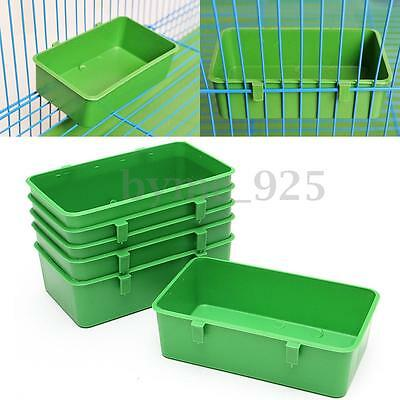 12Pcs Plastic Bird Cup Food Supplements Finch Canary Parakeet Cage Feeder w/Hook
