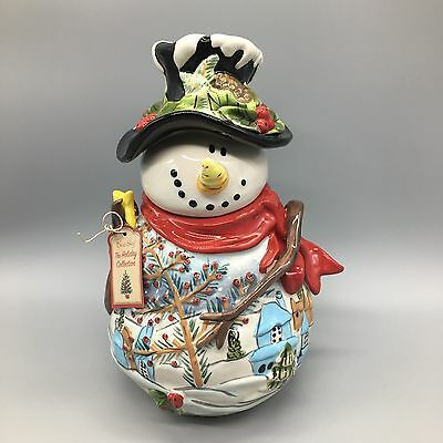 "Blue Sky Clayworks Frosty Snowman Cookie Jar Heather Goldminc Gold 12"" NEW Tags"