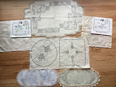 Lot Vintage Unstarted embroidery traced linen doilies to embroider