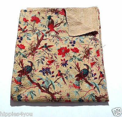 Queen Size Bird Of Paradise Kantha Quilt Cotton Bed Cover Reversible Sari Throw