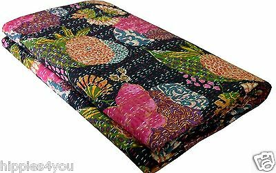 Queen Size Black Tropicana Cotton Kantha Quilt Sari Throw Bed Cover Blanket