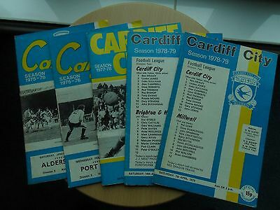 5 CARDIFF CITY PROGRAMMES FROM THE 1970s