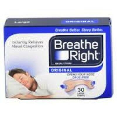 4 Packs - BREATHE RIGHT DRUG-FREE NASAL STRIPS, 30 Strips (UK Product) - Large