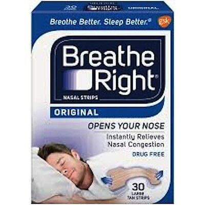 BREATHE RIGHT DRUG-FREE NASAL STRIPS, 30 Strips (UK Product) - Large