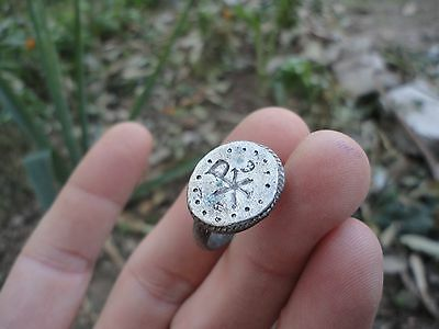 Ancient Roman Silver ring Christogram Museum quality Artifact EXTREMELY RARE