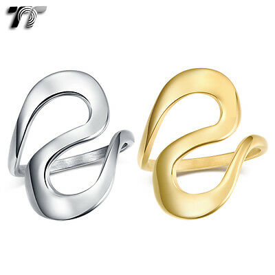 TT Stainless Steel S Band Ring Silver/Gold (R367) NEW