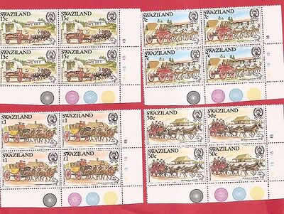 Swaziland 1984 UPU,Horses,Mail Coaches MNH PLATE / CYLINDER BLOCKS OF FOUR w8428