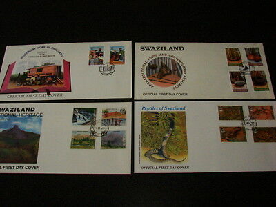 Swaziland FOUR First Day Covers 1991-93 Heritage,Mission,Archeological,Reptiles