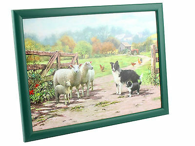 Collie And & Sheep Design - Padded Bean Bag Cushion Tv Dinner Laptray Lap Tray