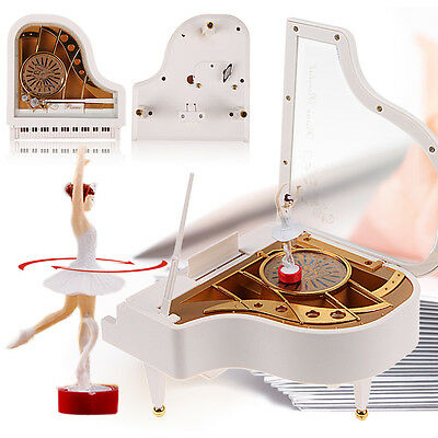 Clockwork Type Rotary Classical Ballerina Girl On The Piano Music Box Kids Gift