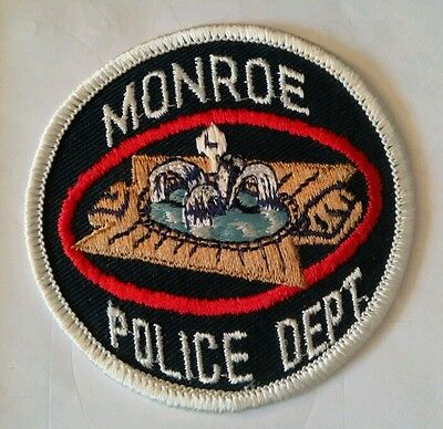 Vintage MONROE (USA) POLICE PATCH fabric embroidered sew on