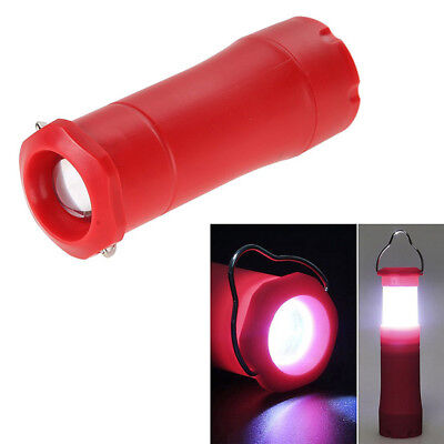 3W Retractable Lantern Light LED Flashlight Torch Outdoor Lamp / Red