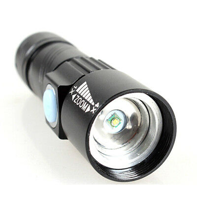 USB Handy LED Torch Flash Light Pocket Rechargeable Flashlight Zoom Lamp