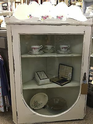 Beautiful Antique Corner Cupboard Painted In Annie Sloane 'Old White'.