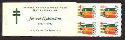 1953 - 1954 Swedish Christmas and New Year booklet 50 seals - 100% Mint