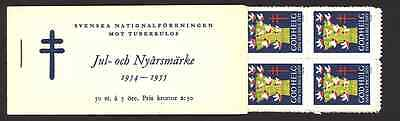 1954 - 1955 Swedish Christmas and New Year booklet 50 seals - 100% Mint